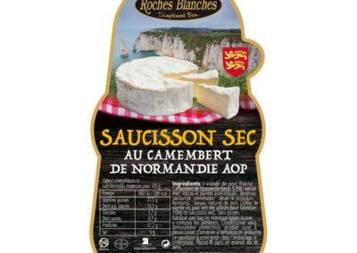 Etiquette Saucisson Camembert Normandie Roches Blanches